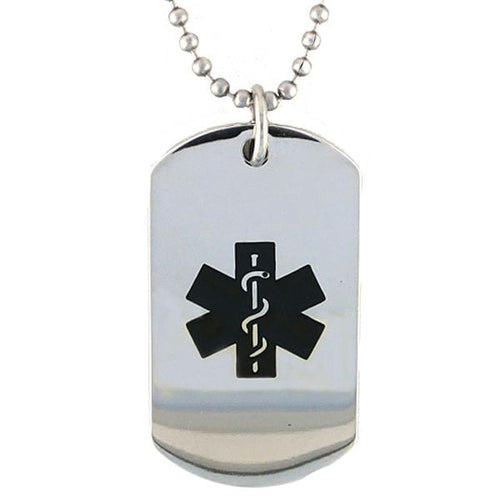 Black Stainless Steel Medical Dog Tag