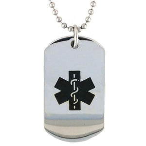 Black Stainless Steel Medical Dog Tag - n-styleid.com