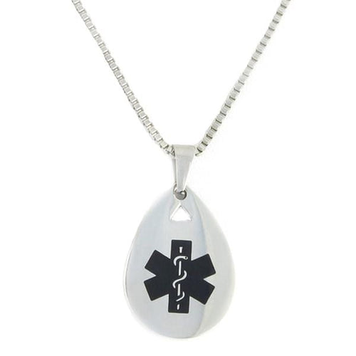 Black Teardrop Medical Necklace
