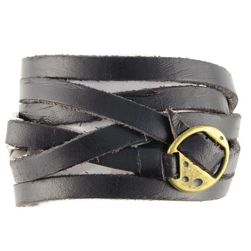 Black Wrap Leather Bracelet - n-styleid.com