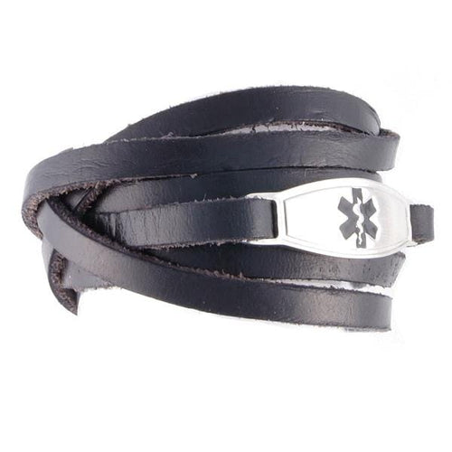 Black Wrap Leather Medical Bracelets - n-styleid.com
