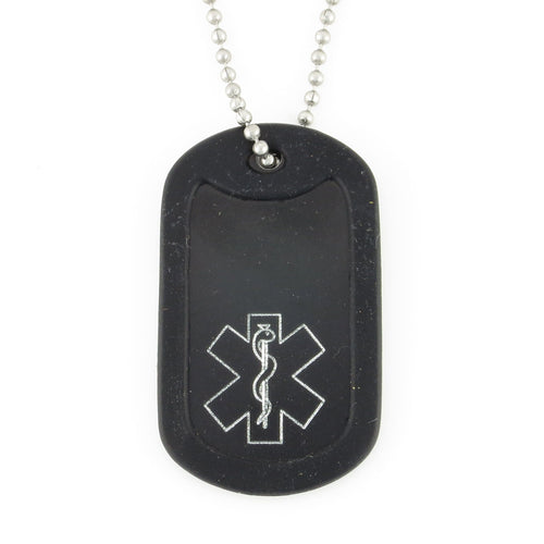 Black Traditional Medical Dog Tag