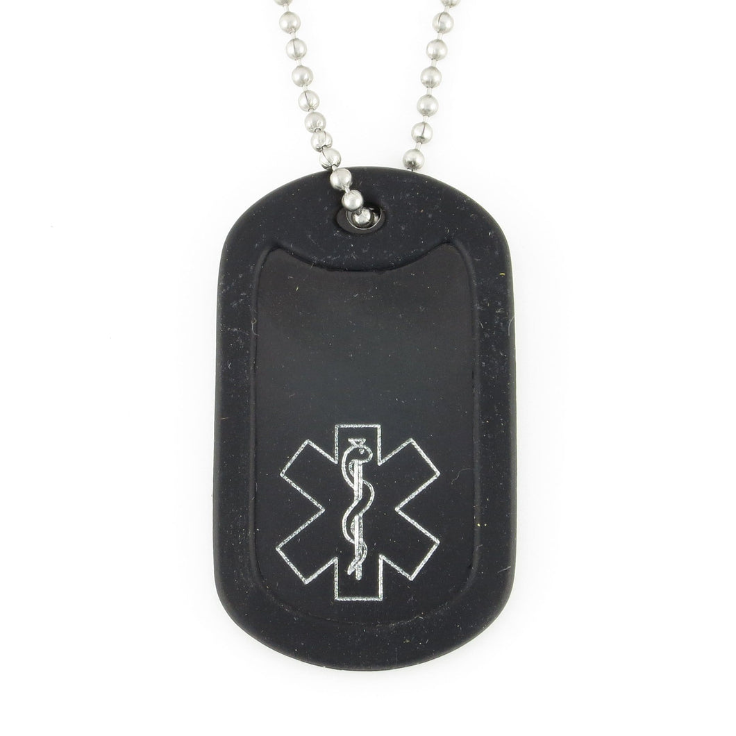 Black Traditional Medical Dog Tag - n-styleid.com