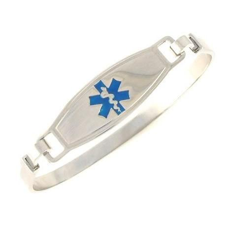 Blue Stainless Steel Bangle Medical Bracelet - n-styleid.com