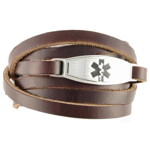 Brown Wrap Leather Medical Bracelet
