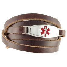 Brown Wrap Leather Medical Bracelet - n-styleid.com