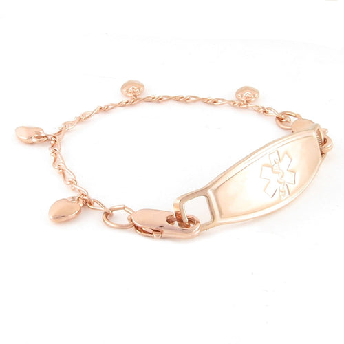 Chain of Hearts Rose Gold Medical Bracelet