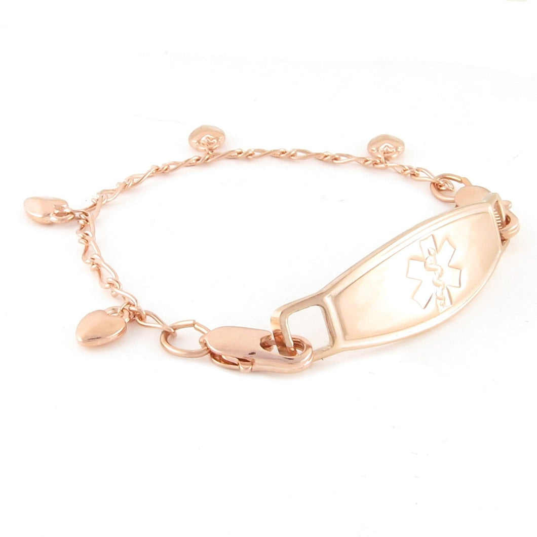 Chain of Hearts Rose Gold Medical Bracelet - n-styleid.com