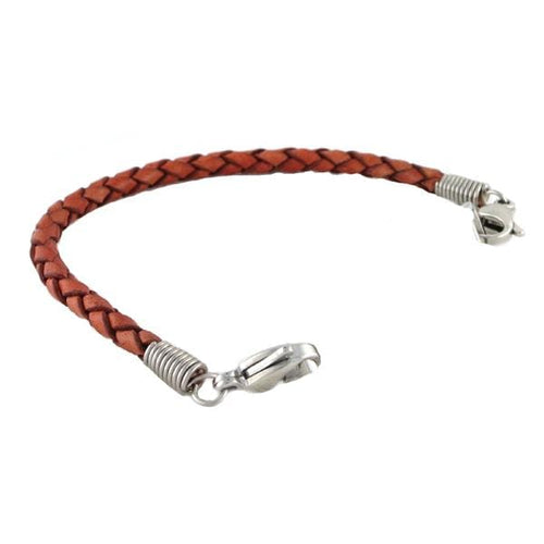 Cognac Braided Leather Bracelet Without ID Tag