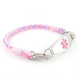 Cotton Candy Braided Medical Bracelet with pink and lavender nylon threads and medic alert tag