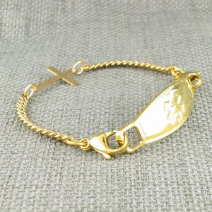 Gold Cross Medical Alert Bracelet - n-styleid.com