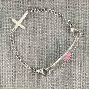 Sideways Cross Medical Alert Bracelet