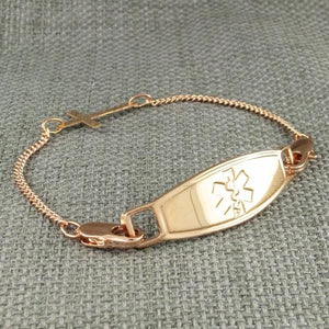 Cross Rose Gold Medical Bracelet - n-styleid.com