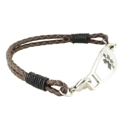 Double Braided Leather Diabetes Bracelet - n-styleid.com