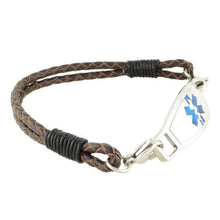 Double Braided Leather Medical Bracelet w/Contempo ID - n-styleid.com