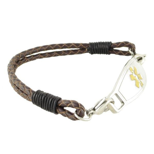 Brown Double Braided medical bracelet with Contempo ID tag
