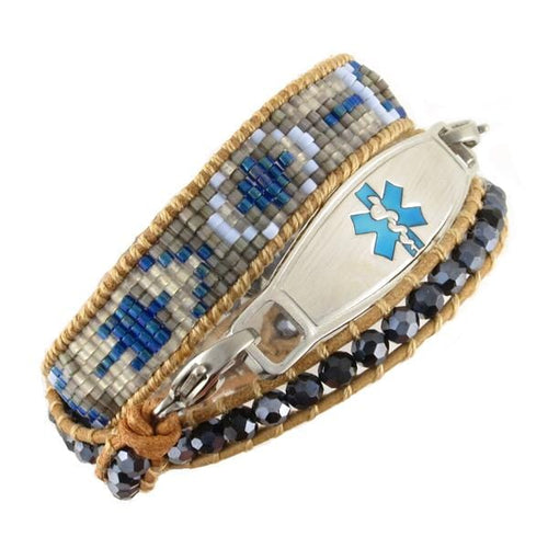 Dusk Beaded Wrap Medical Bracelet in Aztec print blue, tan and grey seed beads