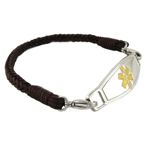 Espresso Braided Medical ID Bracelets w/ Contempo ID - n-styleid.com