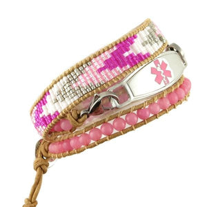 Essence Beaded Wrap Medical Bracelet, leather with Aztec print seed beads in pink, grey and white