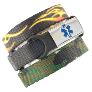 Fire & Camo Triple Pack Medical Bracelets - n-styleid.com
