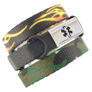 Fire & Camo Triple Pack Medical Bracelets
