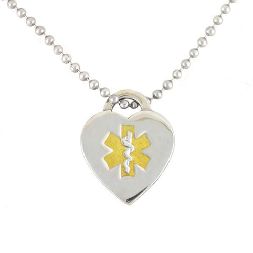 Two Tone Heart Medical Necklace