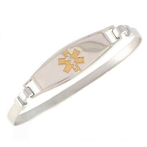 Gold Stainless Steel Bangle Medical ID Bracelet - n-styleid.com