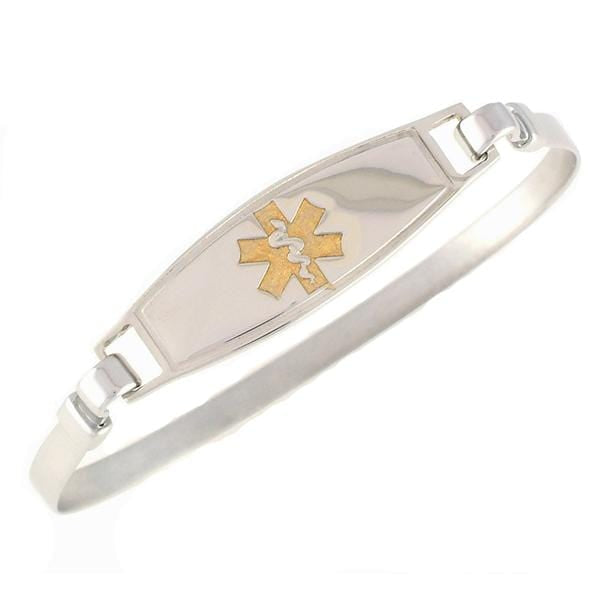 Gold Stainless Steel Bangle Medical ID Bracelet
