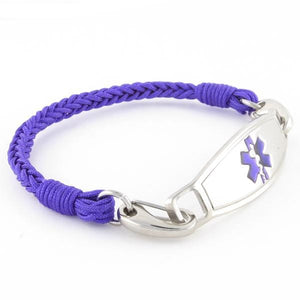 Braided Purple Medical Alert Bracelet