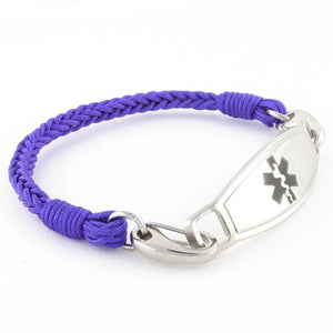 Braided Purple Medical Alert Bracelet - n-styleid.com