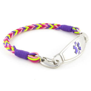 Gum Drop Braided Medical Bracelet with purple, lime green and pink nylon threads and stainless steel medical ID tag