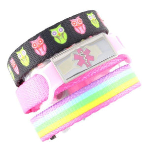 Kids Diabetic Bracelets Hoot & Rainbow Lights Triple Pack - n-styleid.com