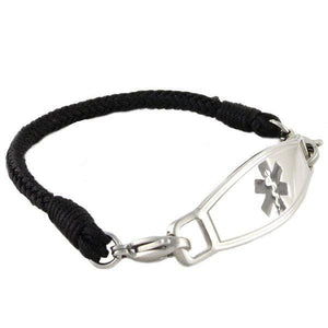 Jet Braided Medical ID Bracelets w/Contempo ID - n-styleid.com