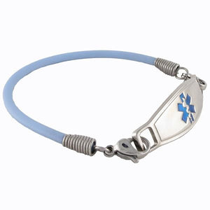 Light Sky Blue Rubber Medic Bracelets