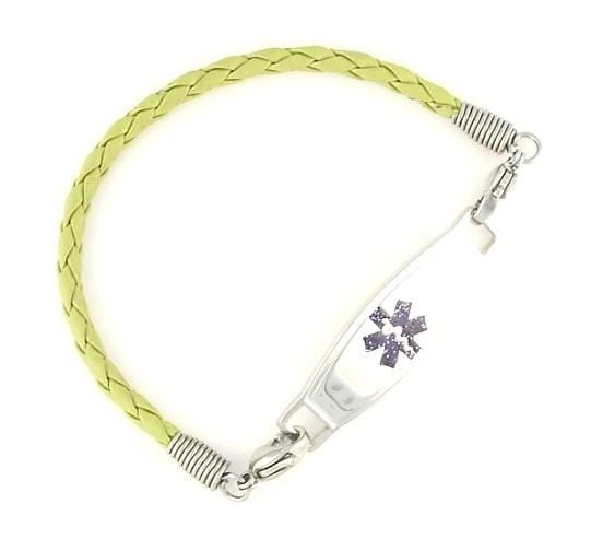 Lime Braided Leather Medical Bracelets