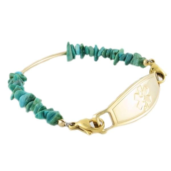 Navajo Gold Beaded Medical Bracelet with lobster clasps that attach to caduceus medical tag