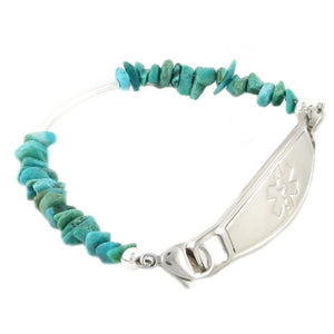 Navajo Silver Beaded Medical Bracelet - n-styleid.com