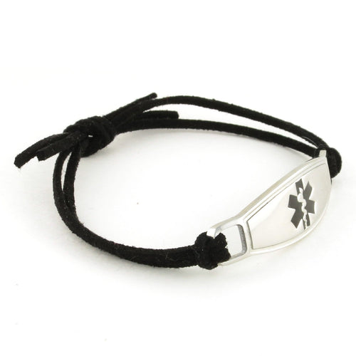 Black Knot Suede Medical Bracelet