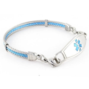 Ocean medic alert bracelet with blue and silver cables and Contempo ID tag