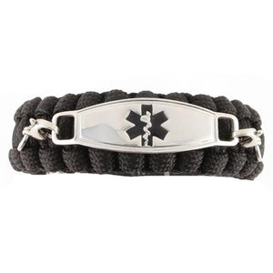 Whistle Paracord Medical Bracelet Black