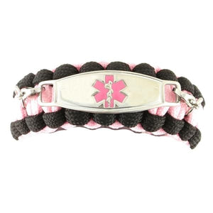 Whistle Paracord medical Bracelet Glow Pink