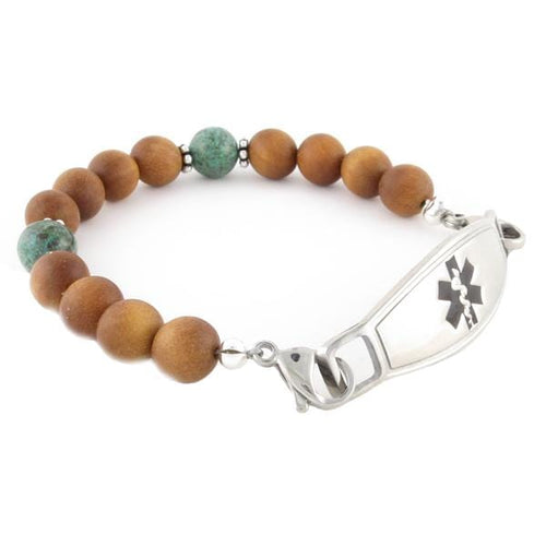 Paradise Beaded Medical Bracelet with stainless steel medical ID tag