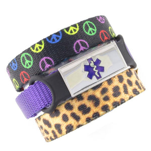 Peace & Cheetah Triple Pack Medical Bracelets