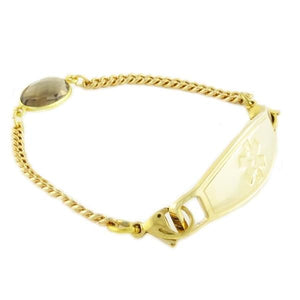 Pharaoh Smoky Quartz Gold Chain Medical Bracelet - n-styleid.com