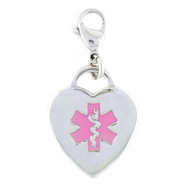 Pink Caduceus Heart Medical Charm w/ Lobster Clasp