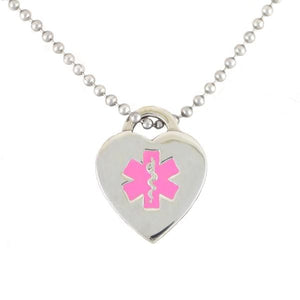 Pink Heart Medical Necklace