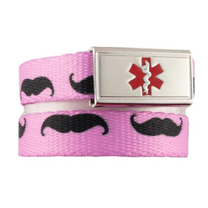 Pink Stache Medical ID Bracelets - n-styleid.com