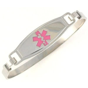 Pink Stainless Steel Bangle Medical Bracelet - n-styleid.com