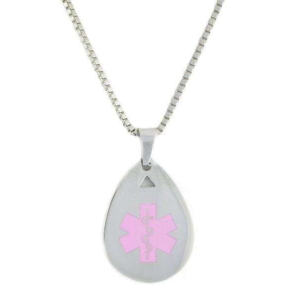 Pink Teardrop Medical Necklace - n-styleid.com