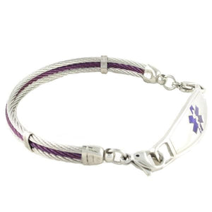 Purple Millennium medic alert bracelet with purple and silver cables and Contempo medical tag